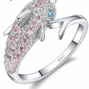 925 Sterling Silver Ring for Women Girl Gift Pink